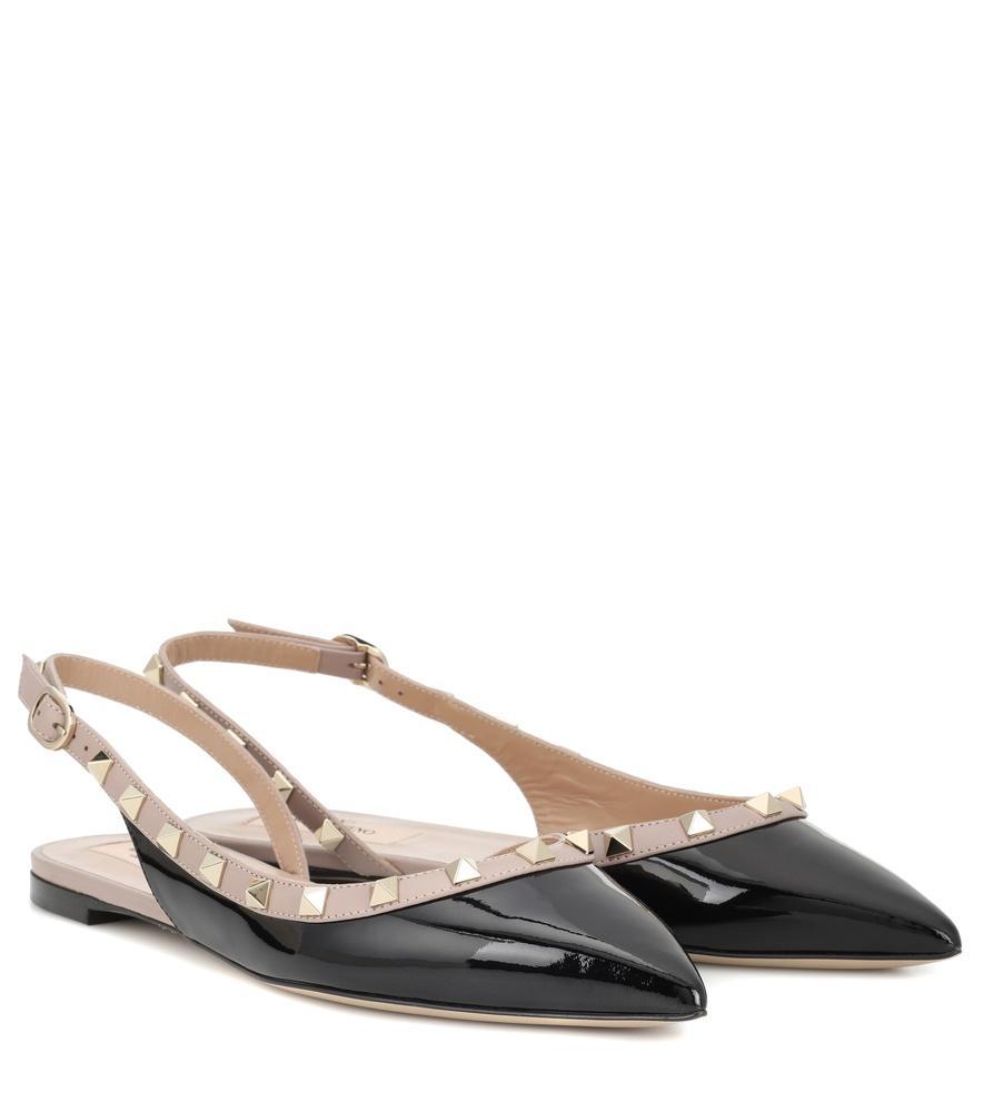 Valentino Rockstud Patent Leather Slingback Ballet Flats In Black