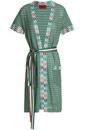 Missoni Woman Belted Crochet-Knit Cardigan Green