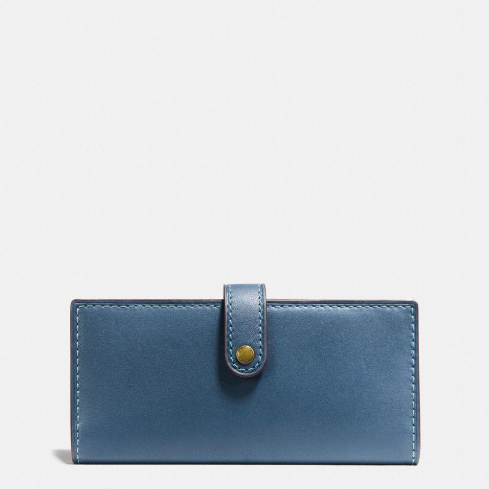 Coach Slim Trifold Wallet In Dark Denim/brass