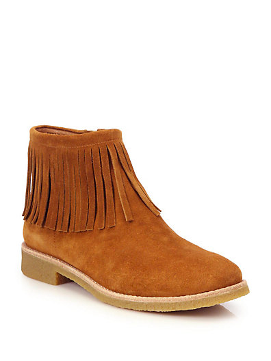 Kate Spade Betsie Too Fringed Suede Ankle Boots In Cognac