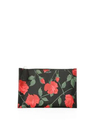 ffbffb6cdd31 Michael Kors Large Rose-Print Leather Pouch In Red Black | ModeSens