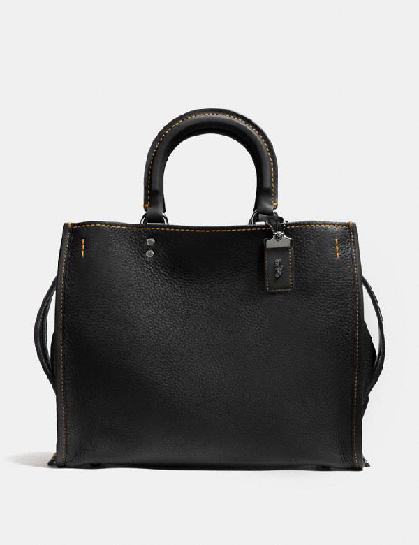 Coach Rogue 36 With Embellished Handle In Glovetanned Pebble Leather In Black/black Copper