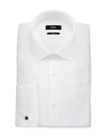 0cb447461 Boss Men's Slim Fit French-Cuff Textured Dress Shirt In White | ModeSens
