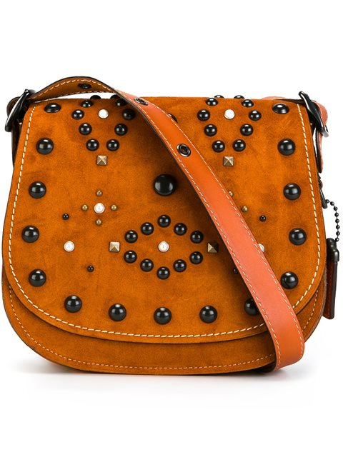 Coach Saddle Small Embellished Suede Crossbody Bag In Neutrals