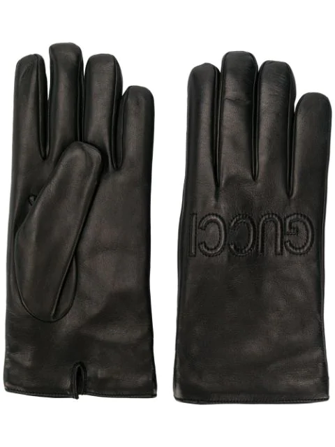 397d1bec4 Gucci - Gucci Loved Embroidered Leather Gloves - Mens - Black