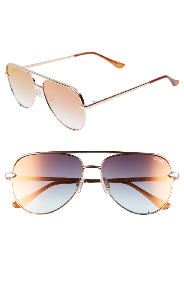 3ca6572835 Quay X Desi Perkins High Key Mini 57mm Aviator Sungles Rose