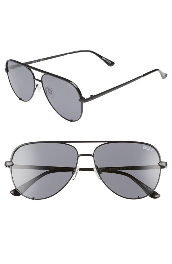 Quay X Desi Perkins High Key 62mm Aviator Sunglasses - Black/ Smoke
