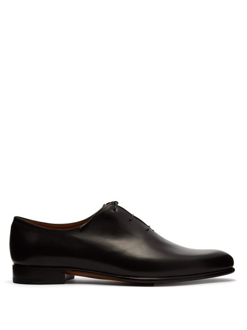 Berluti Alessandro Galet Leather Oxford Shoes In Black