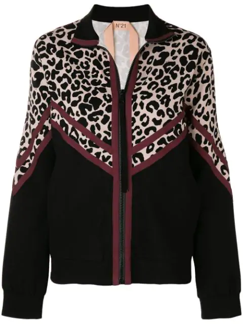 N°21 Track Jacket With Leopard Print In Black
