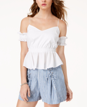 d1a583c0f03a5 Guess Cold-Shoulder Peplum Top In Pure White