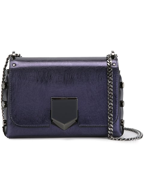 Jimmy Choo Lockett Petite Metallic-leather Shoulder Bag In Navy