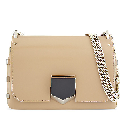 Jimmy Choo Lockett Petite Leather Shoulder Bag In Nude/chrome