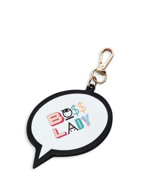 Sophia Webster Boss Lady Leather Bag Charm In White-multi