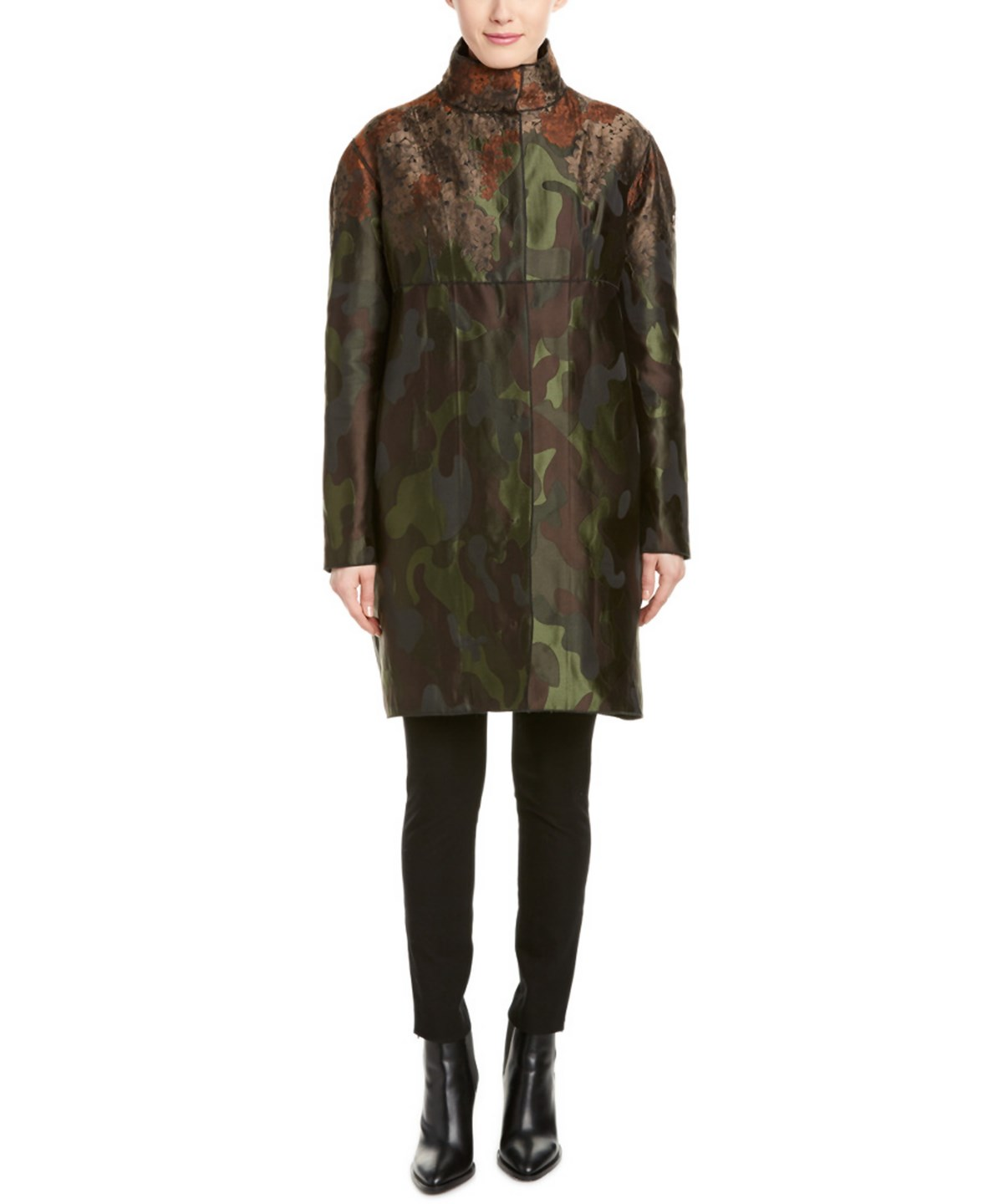 Moncler Sandra Camo And Floral Coat In Nocolor