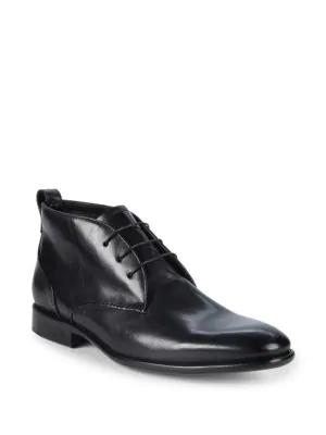 John Varvatos Madison Leather Chukka Boots In Black