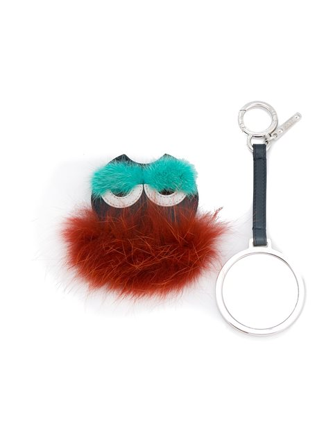 Fendi Bag Bugs Fox-fur And Leather Bag Charm In Blue