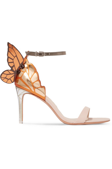 be51523ec46 Chiara Mid-Heel Embroidered Butterfly Sandals in Gold