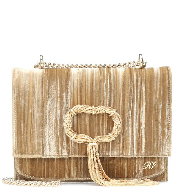 027eb4fbb0 Roger Vivier Club Chain Velvet Tassel Evening Clutch Bag In Gold ...