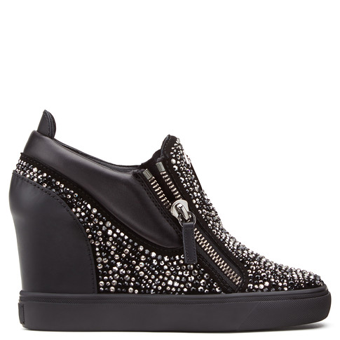 Giuseppe Zanotti - Black Suede Wedge Sneaker With Crystals Sonya