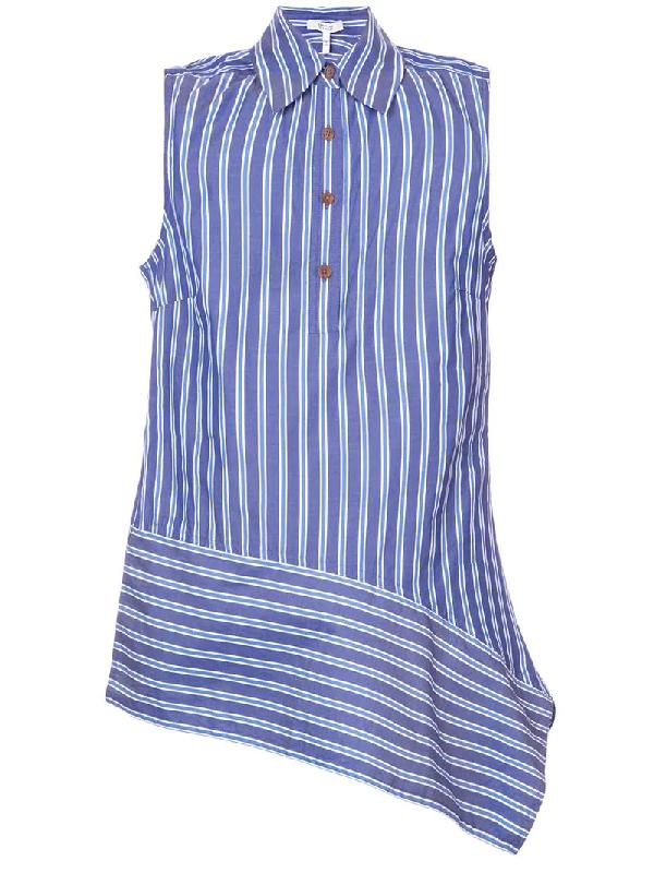 4c71f6b5588fef Derek Lam 10 Crosby Striped Asymmetrical Sleeveless Shirt In Blue ...