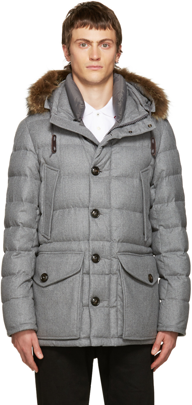 Moncler Rethel Fur-trimmed Quilted-down Wool Coat In Grey