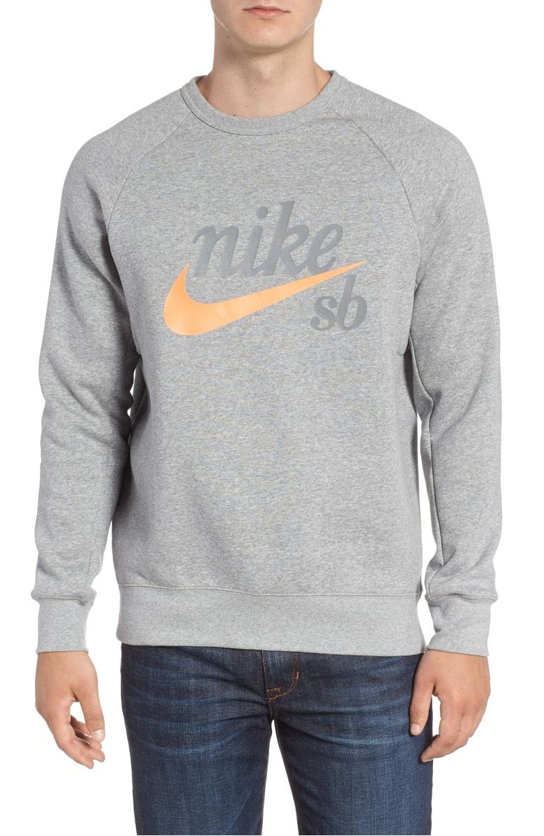 7b4da2efc Nike Sb Icon Sweatshirt In Grey Heather/ Laser Orange | ModeSens