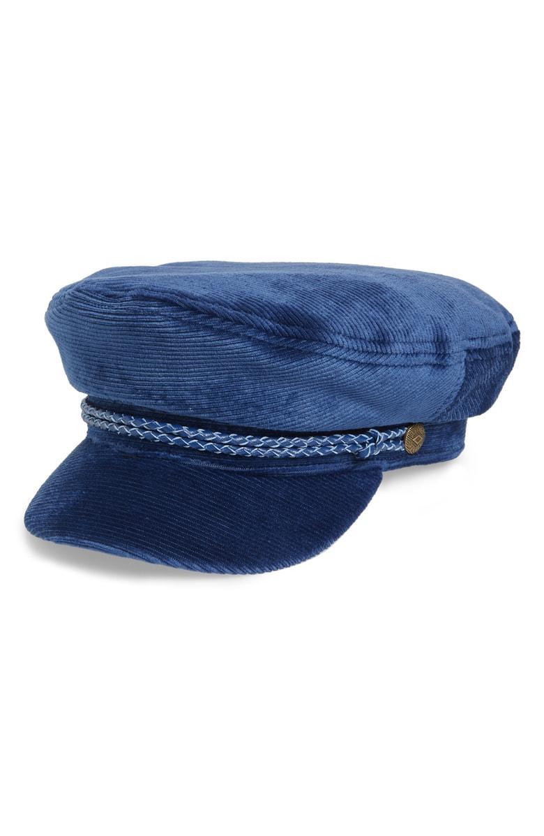 0911a458882c5 Brixton Fiddler Corduroy Baker Boy Cap - Blue In Blue Cord