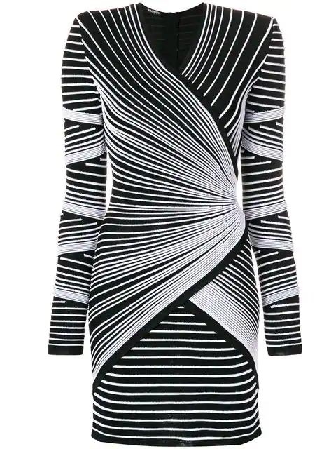 Balmain Monochrome Ribbed Stretch-knit Dress In Black