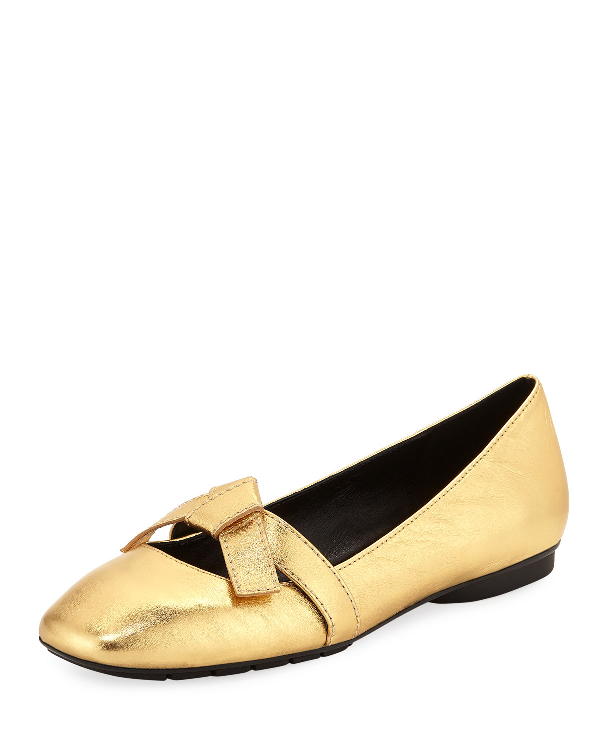8019179a7 Donald J Pliner Dazie Easy Bow Skimmer Flats In Gold