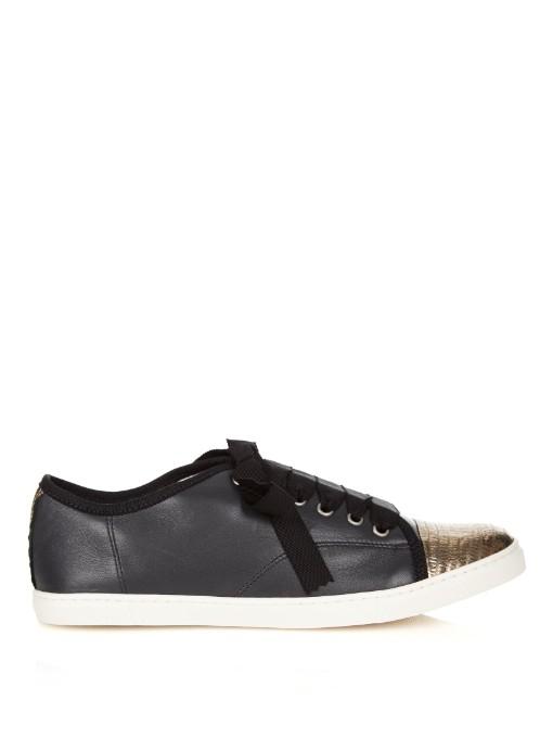 Lanvin Patterned Toe Leather Sneaker In Black