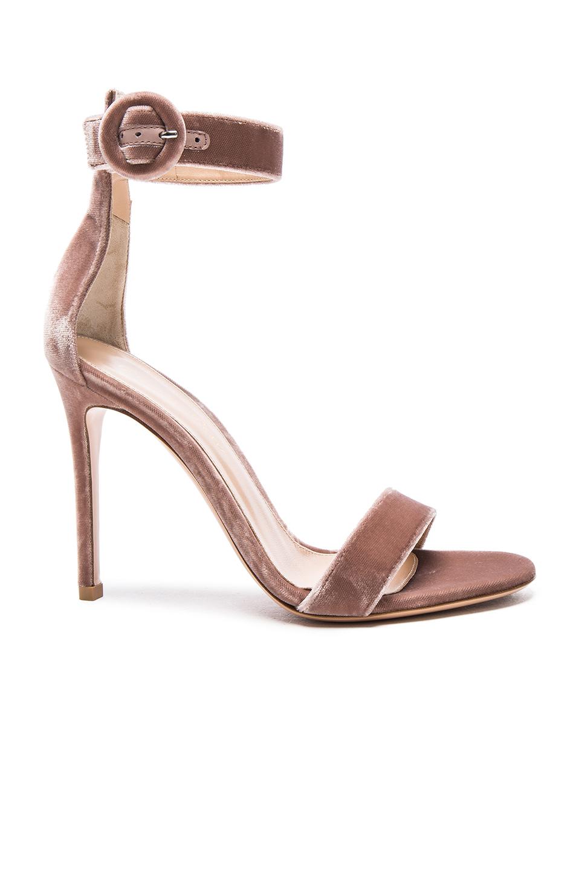 Gianvito Rossi Velvet Portofino Heels In Pink