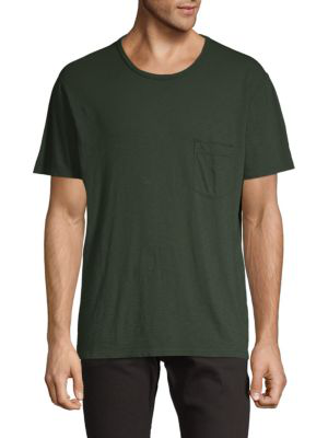 7 For All Mankind Short-Sleeve Cotton Tee In Dark Army