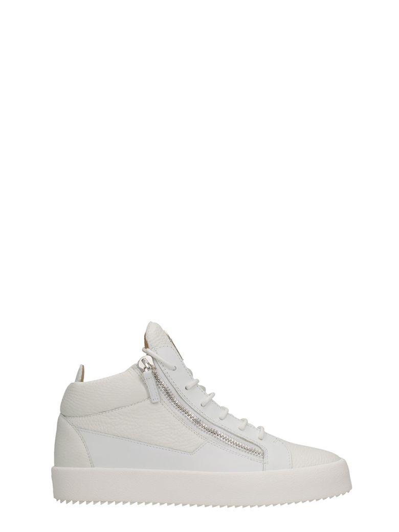 5b2353221aec0 Giuseppe Zanotti Kriss White Leather Mid Sneakers | ModeSens