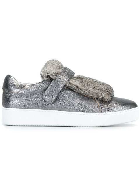 Moncler Lucie Rabbit Fur & Metallic Leather Sneakers In Grey
