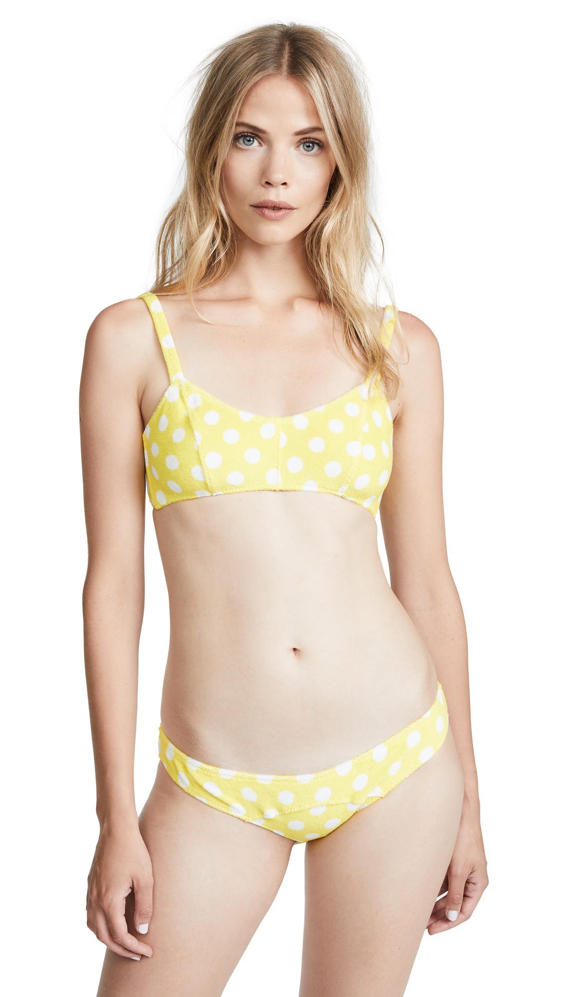 d888088b160bc Lisa Marie Fernandez Genevieve Terry Bikini In Yellow Terry With Polka Dots