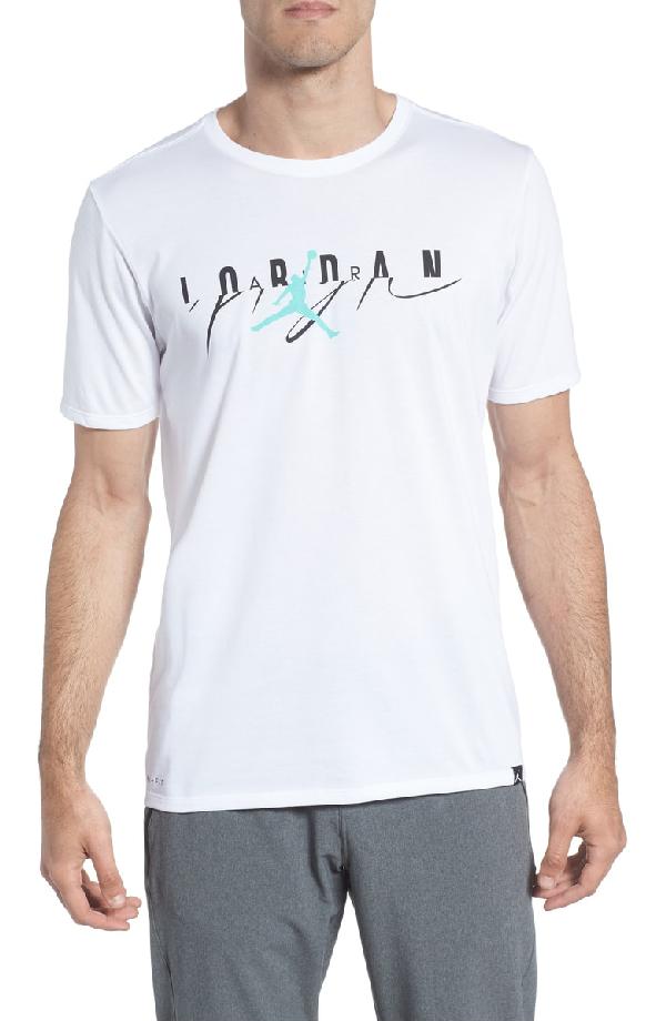 a0e109c16dc537 Nike Flight Mash-Up T-Shirt In White  Emerald Rise