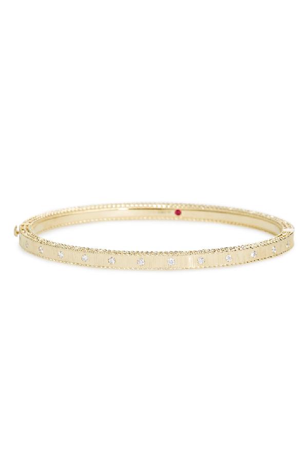 83067d036 Roberto Coin 18K Yellow Gold Princess Diamond Hinged Bangle Bracelet ...