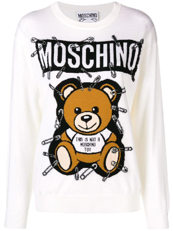 e919ab4bcaf Moschino Safety Pin Bear Intarsia Cotton Sweater In White