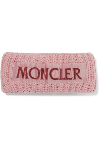 6cf934953a0 Moncler Flocked Grosgrain-Trimmed Ribbed Wool Headband In Pink ...
