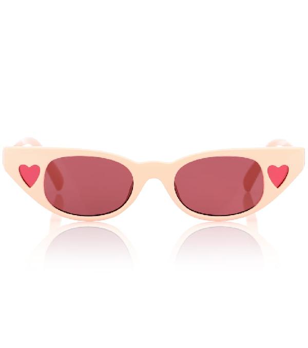 Le Specs X Adam Selman Heartbreaker Cat-eye Sunglasses In Pink