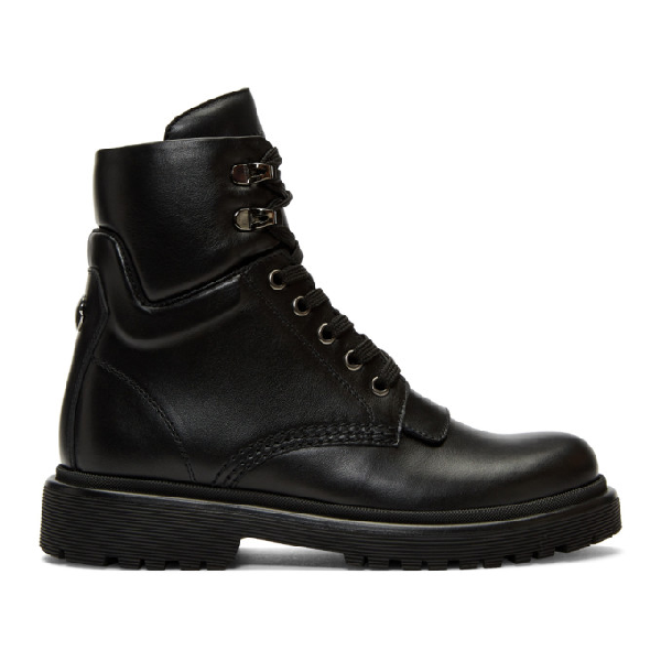 Moncler Ankle Boots Patty Cowskin  Logo Black In 999 Black