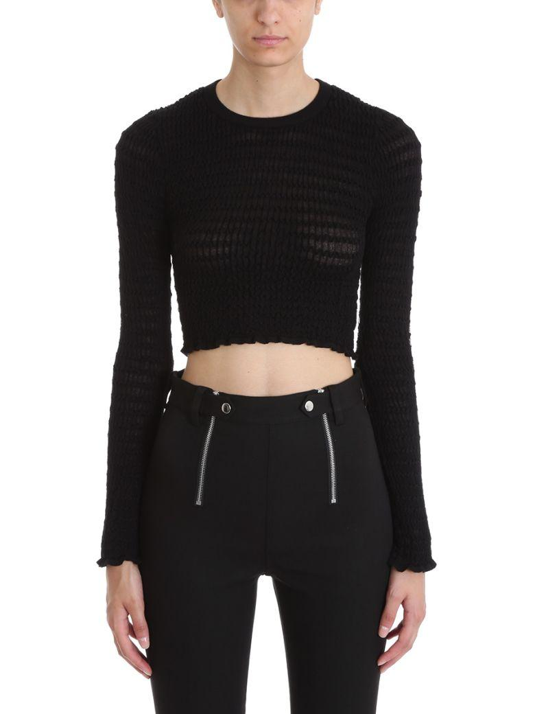 T By Alexander Wang Textured Crop Top In Black