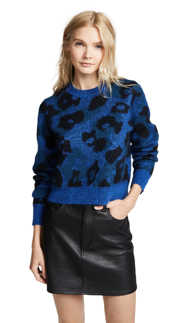 ff526d559ad4 Rag & Bone Leopard Crew Pullover With Mohair And Alpaca In Bright Blue