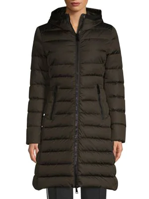 6ab2c1183 Moncler Taleve Leather-Panel Quilted Coat In Khaki Green