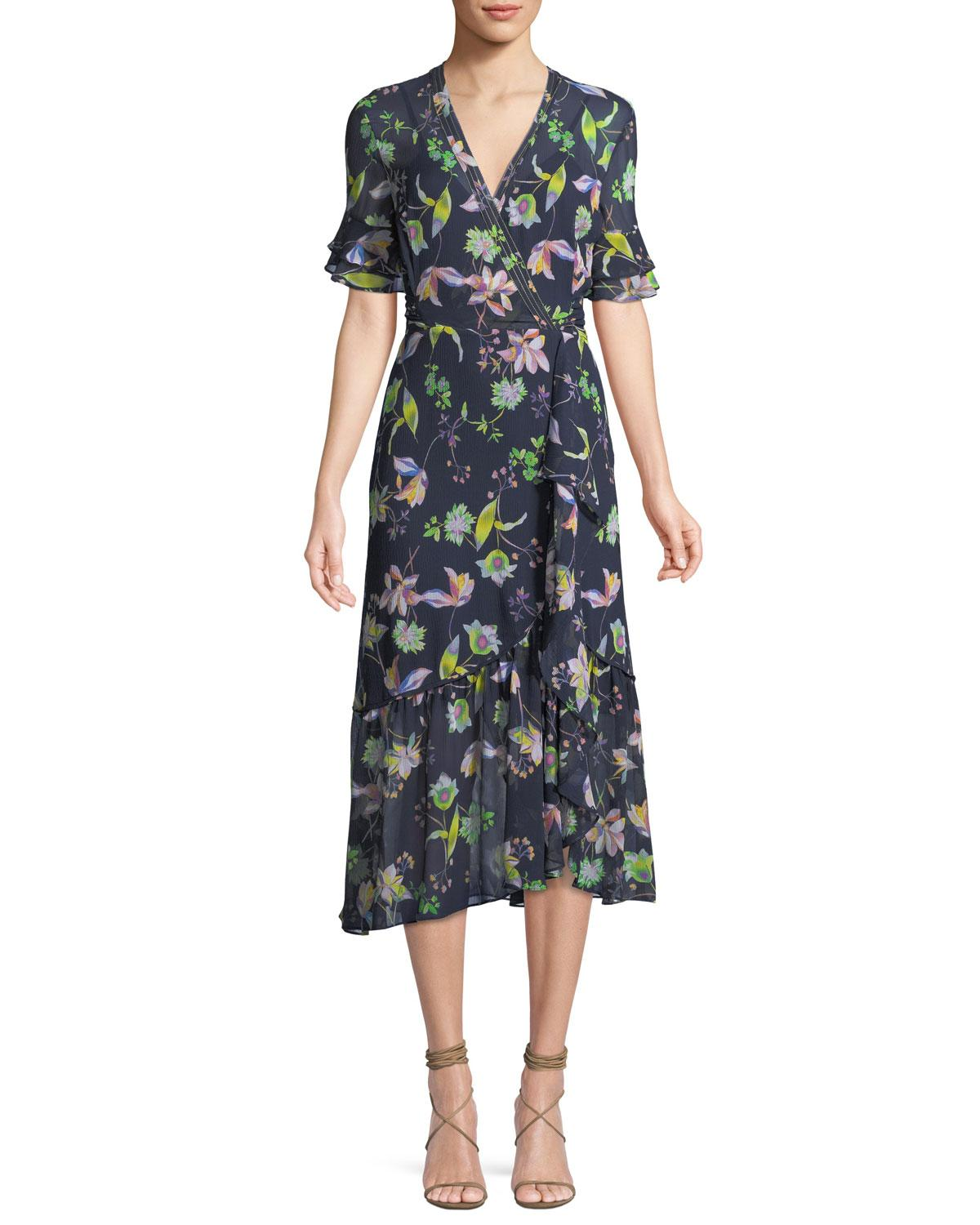Tanya Taylor Blaire Floral-Print Silk Wrap Dress In Blue Pattern