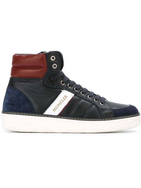 Moncler Leather High Top Sneakers, Navy