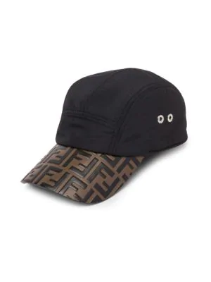4c5c885db6a Fendi Embossed Logo Baseball Hat In Black Tobacco
