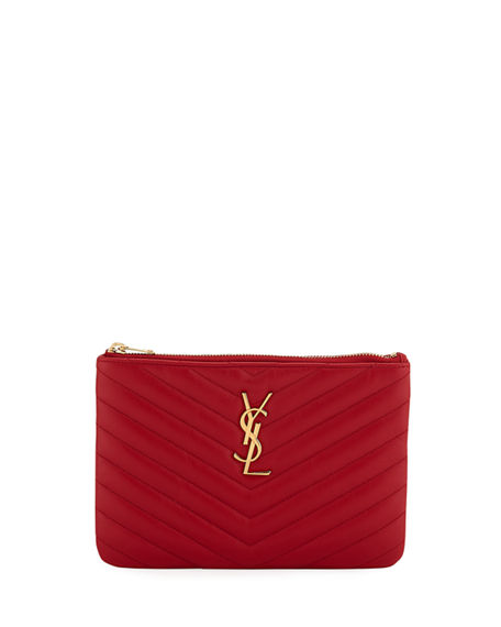 b996d1cb704e Saint Laurent Monogram Ysl Small Chevron Quilted Zip-Top Pouch Bag - Golden  Hardware In