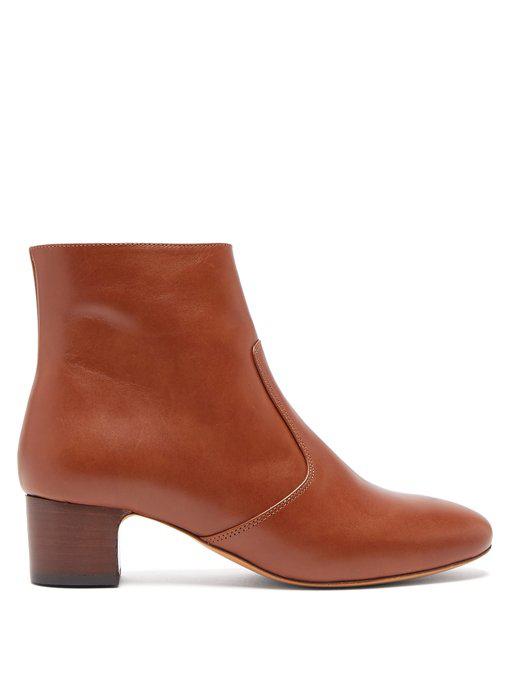 f53aa39b59e A.P.C. Joey Leather Ankle Boots In Tan