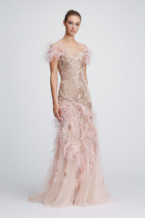 2514b1cd Marchesa Resort 2018 19 Couture Off The Shoulder Tulle Evening Gown In Blush